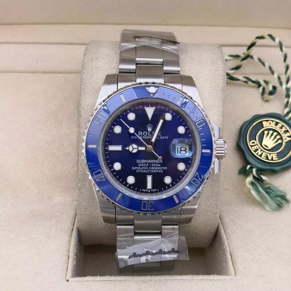 Relógio Masculino R Submariner Aço - Azul Com Caixa Verde