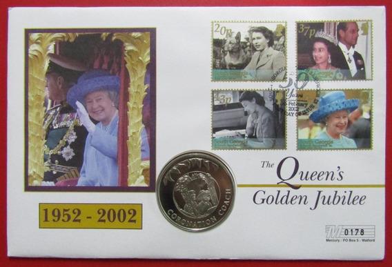 Malvinas Blister Moneda Coronation Coach 50 Pence 2002 Unc