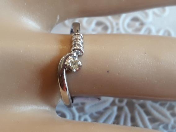 Solitário Em Ouro Branco 18k Com Diamante De 4 Pontos