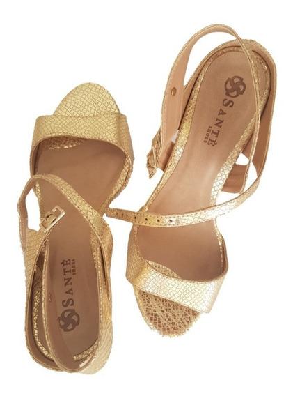 Sandália Salto Alto Sapato Feminino Chiqui Exclusiva Ouro