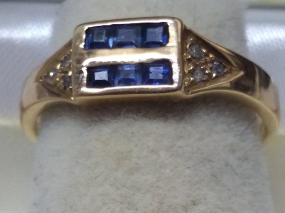 Anillo Rubies O Zafiros Calibrados C/diamantes Oro 14 Kts