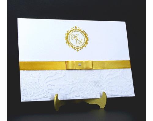 Imagem 1 de 8 de Convite De Casamento Com Renda - Pt02 - (50 Unidades)