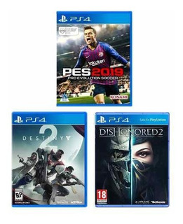 Combo Juegos Ps4 Pes 19 + Dishonored 2 + Destiny 2