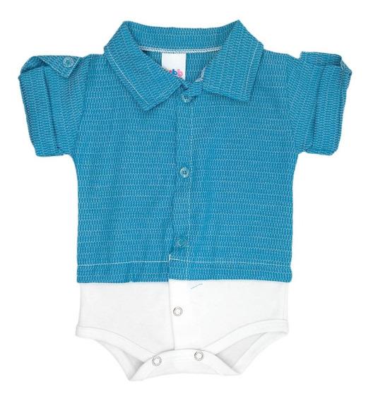 Body Camisa Bebê Manga Curta Azul Turquesa - Masculino