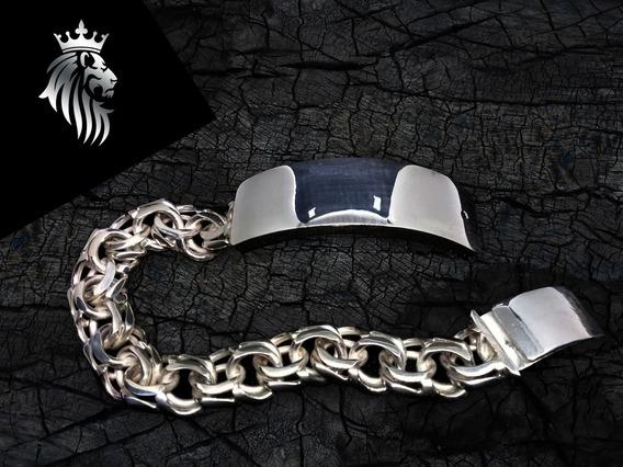 Esclava Plata Grueso Mediano Tejido Chino Letras Gratis