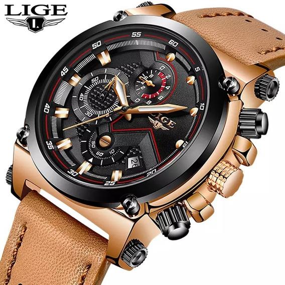 Relógio Masculino Lige 9856 Original Cronógrafo Couro Luxo