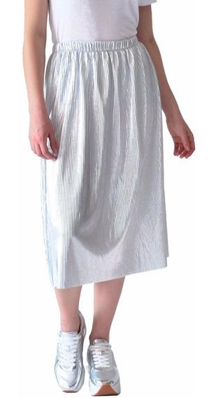 Falda Larga Ropa Mujer Rack & Pack Plata Con Textura Ligera