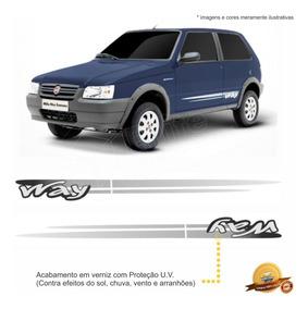 Kit Faixas/adesivos Uno Way 2p 2008 2012 - Cinza