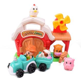 Muñecos Y Animales De Granja Con Granero Y Vehículo Arrastre