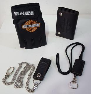 Conjunto Luva Meio Dedo E Carteira Chaveiro Harley Davidson