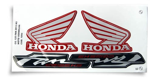 Adesivo Moto Fan125 Ks 2013 Vermelha
