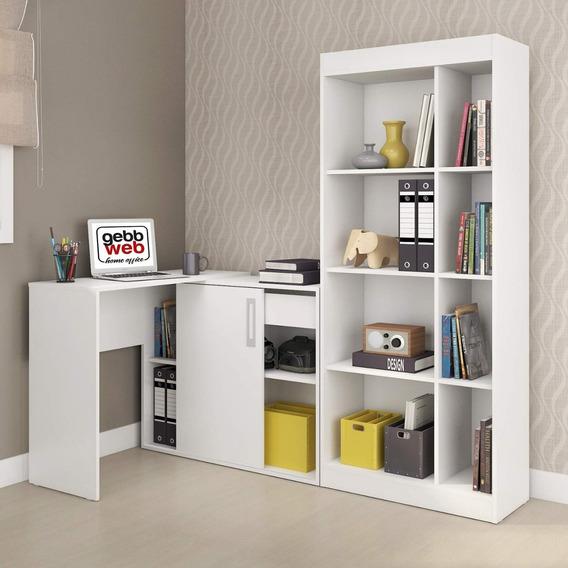 Conjunto Home Office Com Escrivaninha E Estante Luca Fa