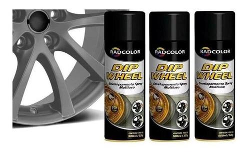 Tinta Spray Envelopamento Liquido Dipwheel 500ml 3un Grafite