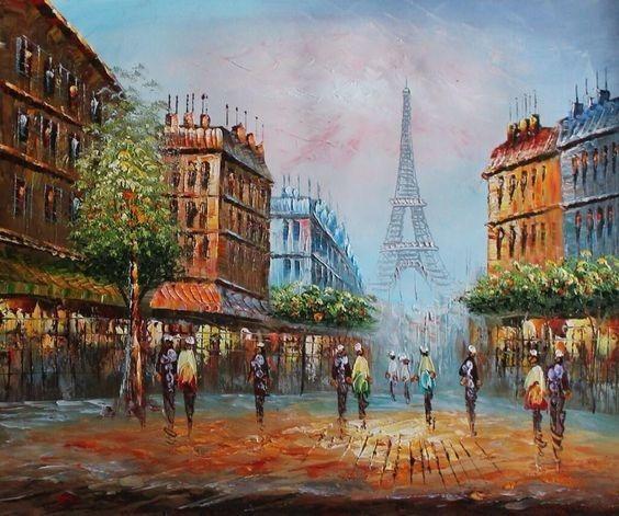 Quadro Pintura Em Tela Torre Eiffel Sala Decoração