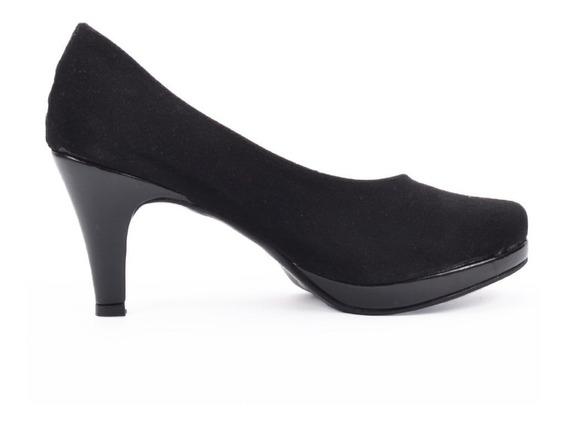 Zapato Clásico Negro Gamuza Dama Calzate Catalina Art. 582