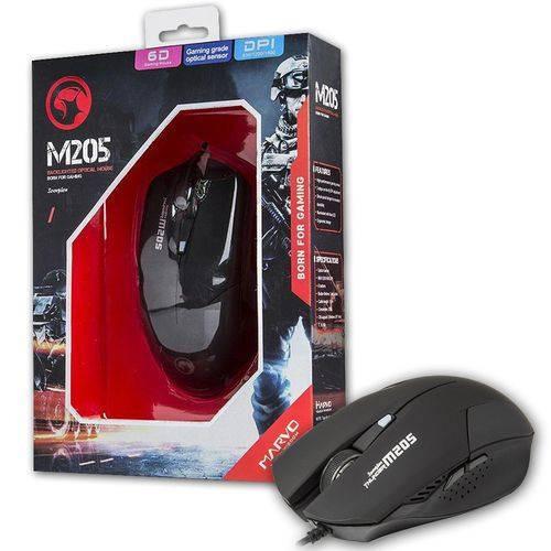 Mouse Usb Gamer 1600 Dpi 6 Botoes Led Azul M205 Marvo