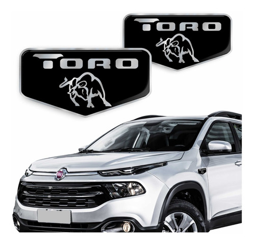 Emblema Brasão Fiat Toro Lateral Adesivo Resinado 2016/2020