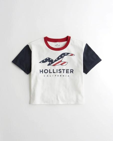 Remera Corta Estampa Americana Hollister Original Mujer