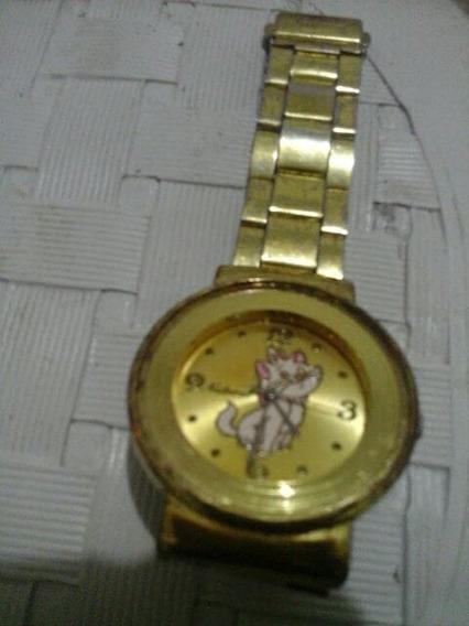 Relógio Dourado(*ouro) Gatinha Marie