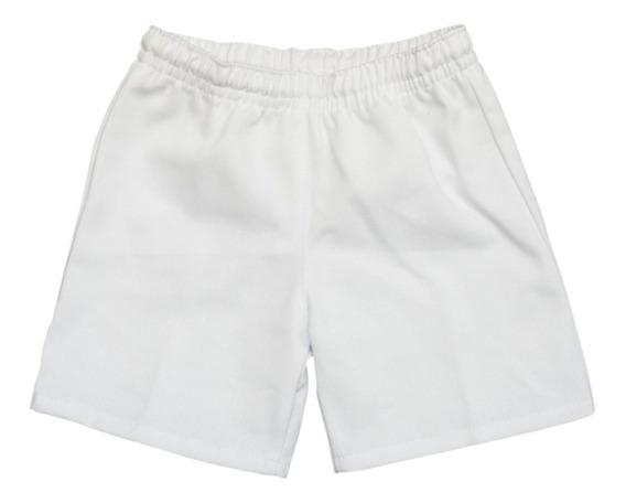 Bermuda Colegial De Gabardina Blanco Talles 2 Al 16
