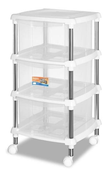 Organizador Multiuso Branco Quarto / Cozinha 618-4 Gaveteiro
