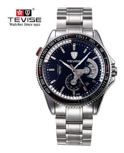 Relógio Tevise Mecânico Automático Aço Inoxidável Lindo D+