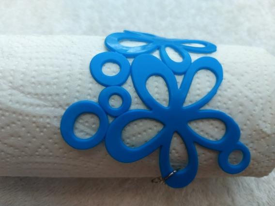 Pulseira Bracelete Maxi Flor / 3 Flores - Plástico Azul 24cm