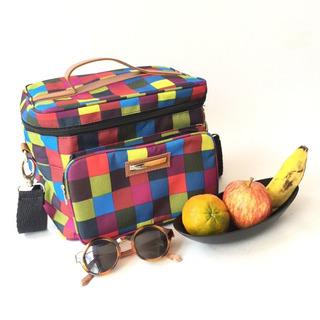 Bolsa Térmica Grande Estampa Xadrez Colorido Fitness Premium