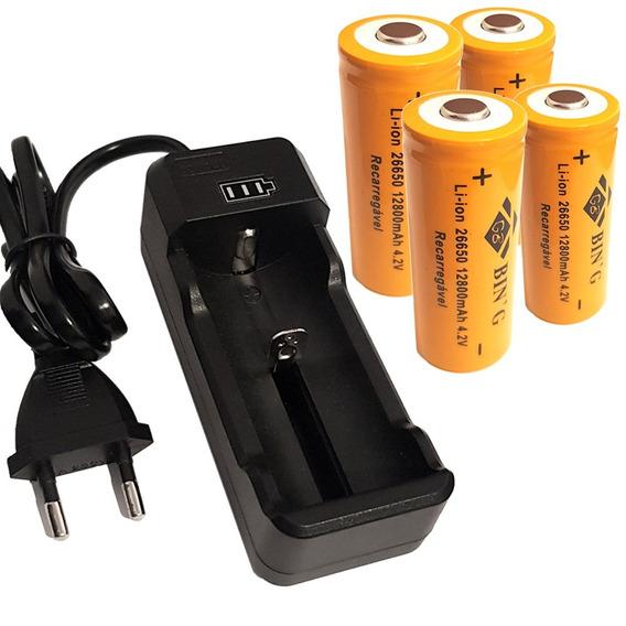 Kit Carregador + 4 Bateria 26650 12800mah Lanterna Led X900