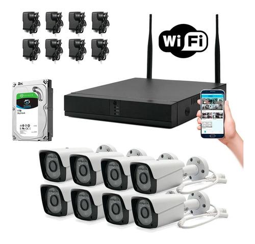 Kit 8 Cámaras Wifi Full Hd Inalámbrico Ext 1080p + Disco 1tb