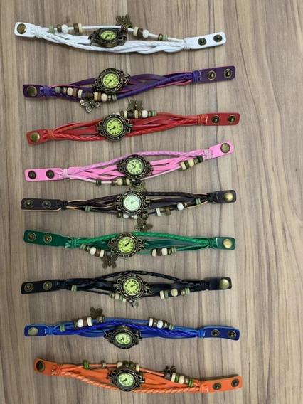 Kit 5 Relógio Feminino Vintage Pulseira Couro Pu Atacado