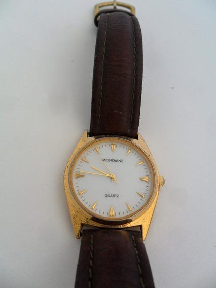Relógio De Pulso Mondaine Quartz Masculino Antigo Dourado