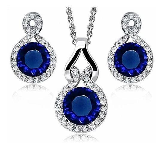 Ronda Azul Simulado Zafiro Circonitas Set Collar 18 Arete Ba
