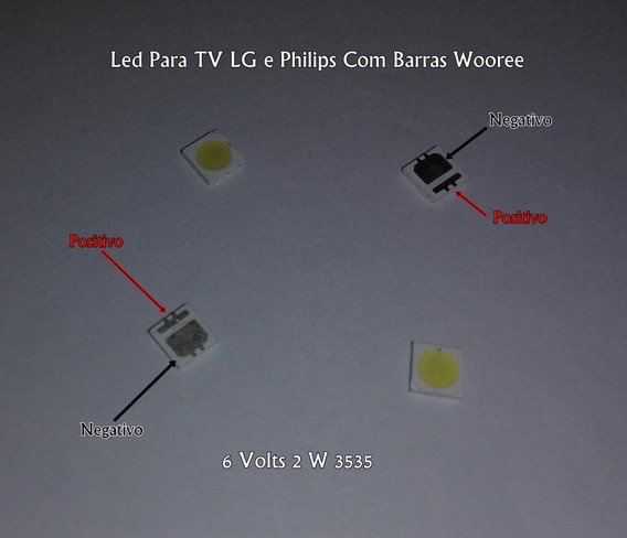 Led 6volts 2w 3535 Wooree Tv Lg E Philips Kit 50 Leds