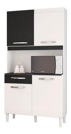 Kit Com 4 Portas Carine Branco/preto - Lc Móveis