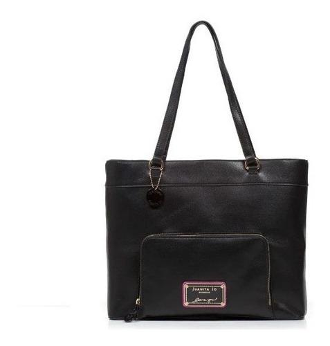 Cartera Juanita Jo Shopping Bag Daltro Negro Fucsia 10808