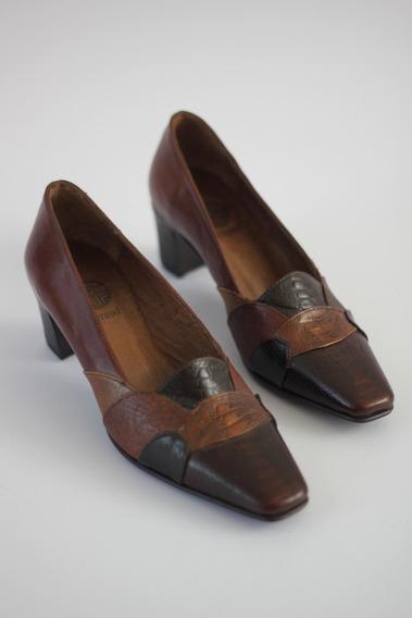 Zapatos De Cuero Marrones Croco Mujer Taco Bajo