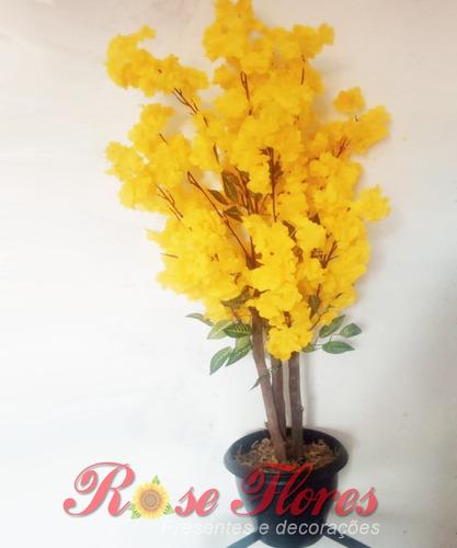 Mini Árvore Cerejeira Artificial Com Vaso De Plástico.