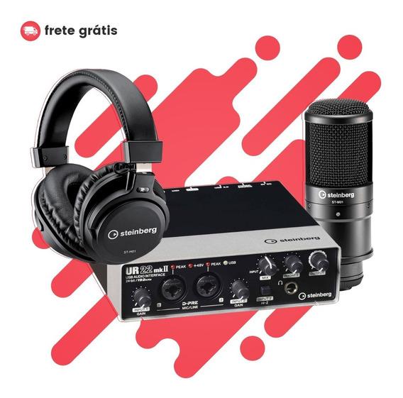 Kit De Gravação Steinberg Ur22 Mkii Com Microfone E Fone