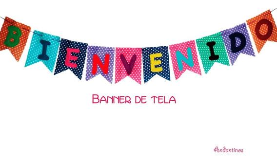 Banderín Letrero Bienvenidos, Banner De Tela De Colores
