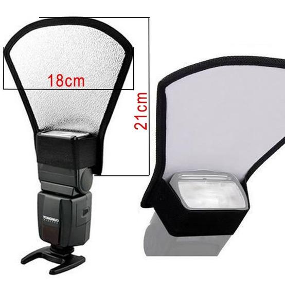 Rebatedor Para Flash Speedlight Externo Canon Nikon Prata Branco