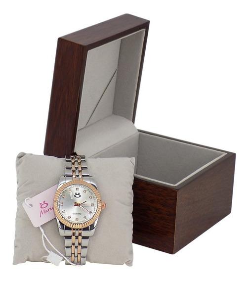 Relógio Feminino Analógico Limited Edition Caixa Madeira