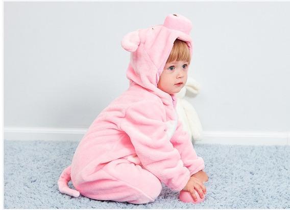 Pijama Porquinha Macacão Bebê Bichinhos Meninas Herois Blusa