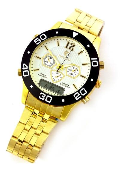 Relógio Masculino Potenzia De Pulso Com Pulseira Metal B5654