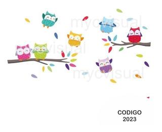 Vinilo Decorativo Pared Infantil Búhos De Colores 150 Ancho