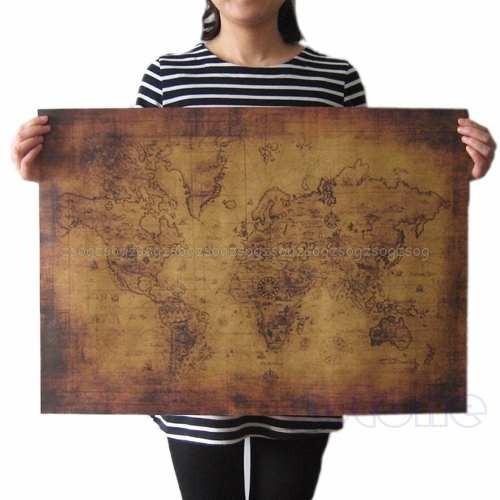 Mapa Envelhecido 71x51 Cm Grande Estilo Vintage