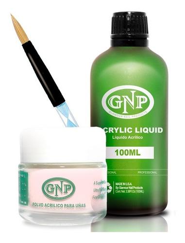 Polvo Acrilico 40gr Rosa, Liquido 100ml Gnp, Dappen Y Pincel