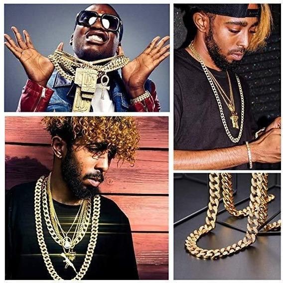 Cuban Chain Corrente Trap Rap Com Brilhantes + Pulseira