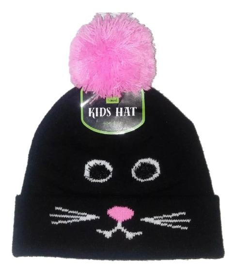 Gorro Gatito Negro Con Pompon Rosa Para Niña
