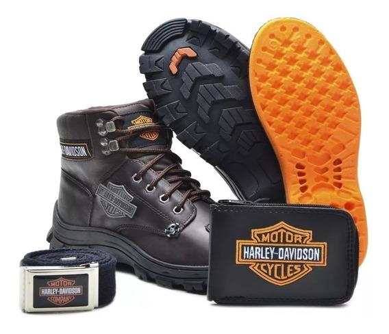 Bota Motociclista Harley Davidson Couro Kit Gratis Promocao